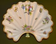 Herend Victoria Porcelain Large Footed Shell Bowl Butterflies Floral 24k Gold