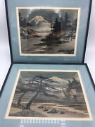 Pair 2 Vintage Japanese Paintings On Textured Fabric- Framed Landscapes Estate