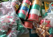 Vintage Nos Country Chic Christmas Present Wrapping Ribbon Bows Gift Tags Lot