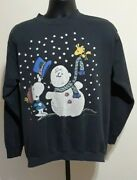 Rare True Vintage Peanuts Christmas Sweater Snoopy And Woodstock Charlie Brown Xl