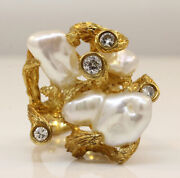 Lovely Vintage 18k Yellow Gold Ring With Baroque Pearls And Diamonds Q41