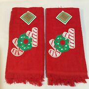 Vintage Embroidered Red Christmas Joy Hand Kitchen Dish Towels Candy Cane Wreath