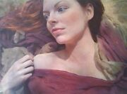 New William Oxer Original Canvas The Sonnet Beautiful Girl Woman Painting