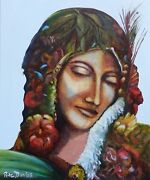 New Original Pete Davies Oil Gaia Summer Earth Mother Greek God Canvas Painting