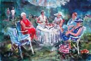 Beautiful Sera Knight A.s.w.a Original Ladies At A Garden Lunch Painting