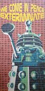 Original Gary Hogben We Come In Peace Exterminate Dr Who Daleks Stamp Painting