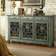 Traditional Credenza Console Accent Cabinet 3 Door Wood Antique Green Assembled
