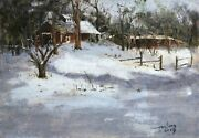 Original Oil Painting On Linen Landscape Freehand Clear After The Snow