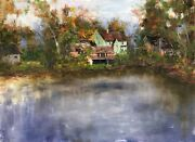 Original Oil Painting On Linen Landscape Freehand The Fascinating Autumn