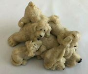 Gray Stone 4 Quarry Critters Playful Litter Of 4 Dogs With Mother Figurine