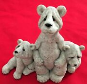 Gray Stone 5.5x6.5 Quarry Critters Mama Bear And Two Babies Figurine