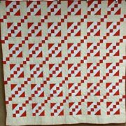 Turkey Red And Blue C 1900 Pa Jacobs Ladder Quilt Antique