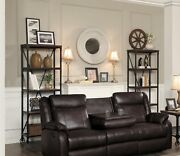 Brown Faux Leather Reclining Sofa Drop Down Table Living Room Furniture