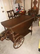Antique Vintage Imperial Drop Leaf Mahoghany Tea Cart Made In Usa