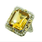 14k Gold Deco 7 Carat Citrine Filigree Ring With Flowers And Bows J4541
