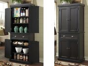 Tall Kitchen Pantry Storage Cabinet Utility Cupboard Distressed Solid Wood Black