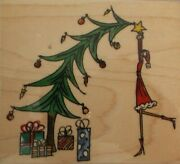 Penny Black Christmas Topping Red Rubber Stamp Decorate The Christmas Tree Star