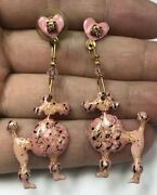Vintage Lunch At The Ritz Gold Plated Enamel Dangling Dog Poodle Earrings 1989
