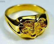 Gold Nugget Men's Ring Orocal Rmen120 Genuine Hand Crafted Jewelry - 14k Casti