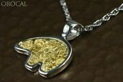 Gold Nugget Pendant Bear - Sterling Silver - Pbr1xlnss- Hand Made Orocal Jewel