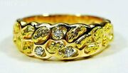 Gold Nugget Men's Ring Orocal Rm210d9 Genuine Hand Crafted Jewelry - 14k Casti