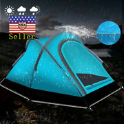 2 Person 3-season Camping Tent Outdoor Hiking Family Tent Teal Easy Set Up