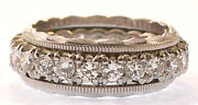 Ladies Platinum Diamond Eternity Band Size 4 3/4 With Matching Ring Guards