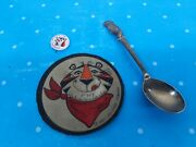 3 Vintage Kellogg's Tony The Tiger Cereal Premiums Patch Pin Spoon K