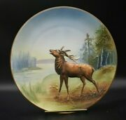 Nippon Relief Mold Bellowing Elk Forest River Stream 10 1/2 Wall Plaque Plate
