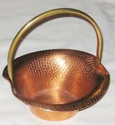 Copper 8 Hamered Basket W Brass Handle Made By Coppercraft Guild Taunton Mass