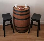 Whiskey Barrel Pub Table Set-breakfast Nook-dining-small Space-free Shipping