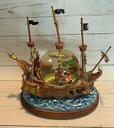 Disney Peter Pan Fighting W/captain Hook Ship Musical Snowglobe Extremely Rare