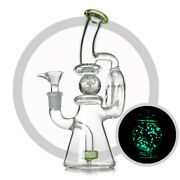 Tobacco Recycler Bong 8.5 Glass Bong With Luminous Mobile Ball Water Pipe