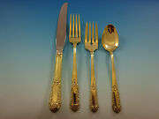 Inaugural By State House Sterling Silver Flatware Service For 8 Set Gold Vermeil