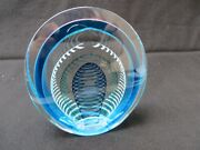 Rare Large Signed Correia 1989 Art Glass Paperweight Abstract Stripes 5 X 4.5