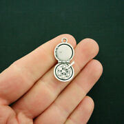 4 Makeup Compact Charms Antique Silver Tone 2 Sided - Sc6499
