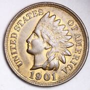 1901 Indian Head Small Cent Choice Unc Free Shipping E166 Jnf