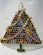 Vintage Rhinestone Christmas Tree Pin Brooch Articulated Garland All Prong Set