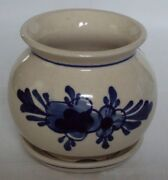 Hand Thrown Art Pottery Ivory Small Planter Blue Floral Hand Painted Nice