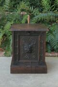 Antique English Coal Hod Scuttle Hearth Fireplace End Table Carved Oak