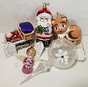 Thriftchi Laved Italian Glass Ornaments - Cat, Train, Angel, Santa And Pendant