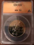 1994-d World Cup Ms70 Anacs 50c Half Dollar - Very Rare Perfect Condition