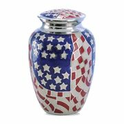 Large/adult 220 Cubic Inches American Flag Brass Funeral Cremation Urn For Ashes