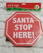 Discontinued Plastic Santa Stop Here Yard Sign Christmas Winter Decoration New