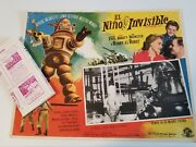 1957 The Invisible Boy Original Mexican Movie Lobby Card And Flyer Sci-fi Horror