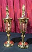 Pair Of Antique Czech Bohemian Cut Back Etched Glass Pokal Chalice Covered Urns