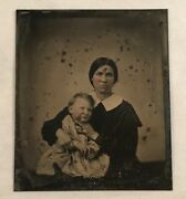 Antique Post Mortem Tintype Photograph Photo Young Mother With Dead Son Child