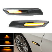 Carbon F10 Style Sequential Amber Led Side Marker Lights For Bmw 1 3 5 Series