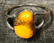 Rare Butterscotch Baltic Amber W/inclusions Sterling Silver Thick Bracelet
