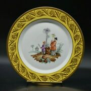 Kpm Berlin German 1790 Hand Painted Chinoiserie Yellow And Gold 9 1/4 Plate